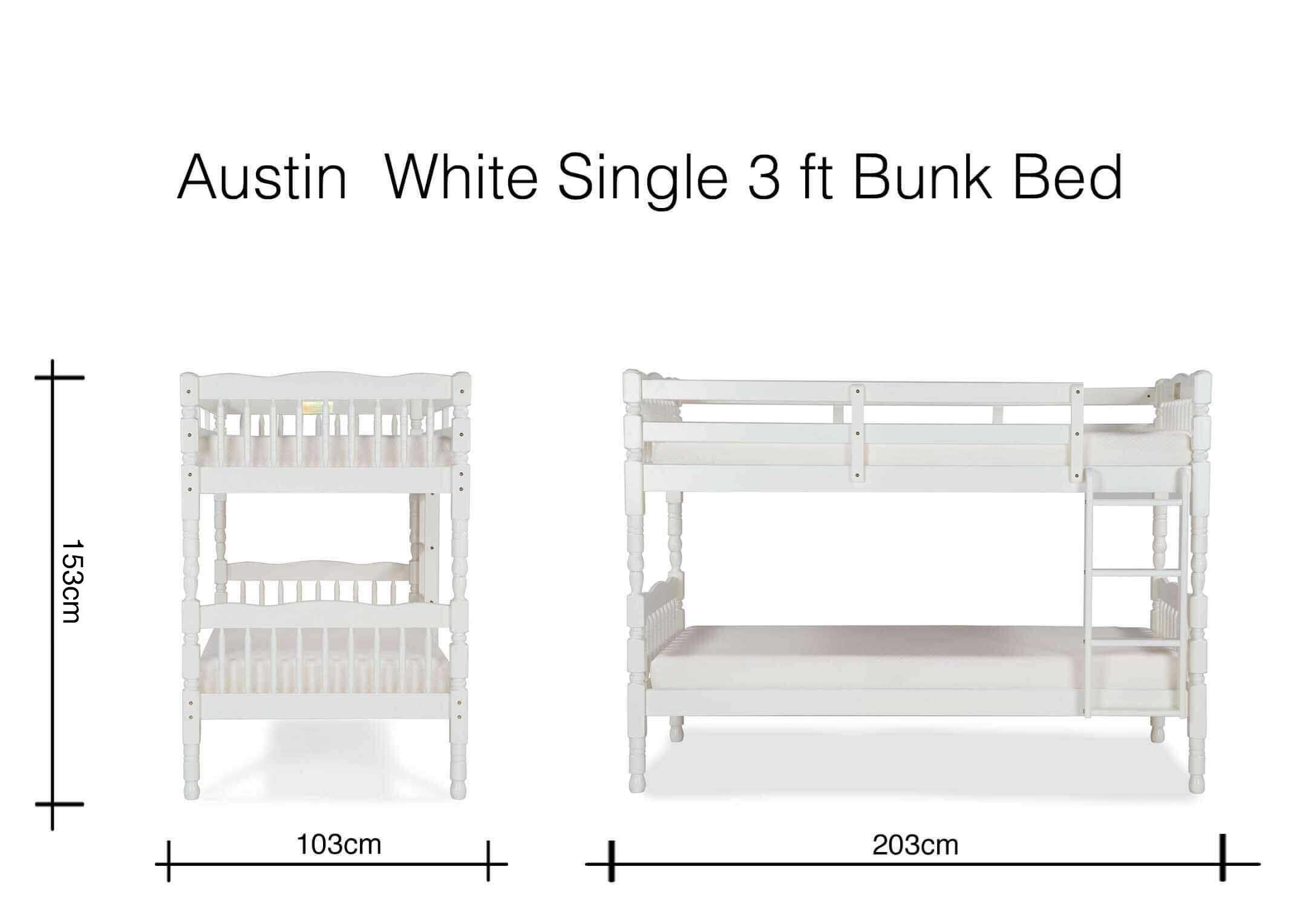 Single 3 Ft White Pine Bunk Bed Austin Ez Living Furniture