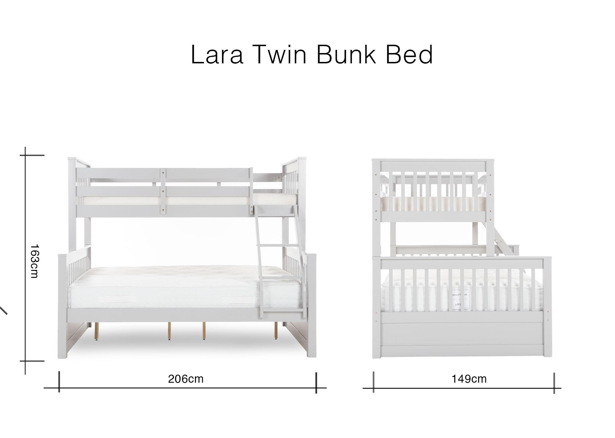 Grey Solid Wood Twin Bunk Bed Lara Ez Living Furniture