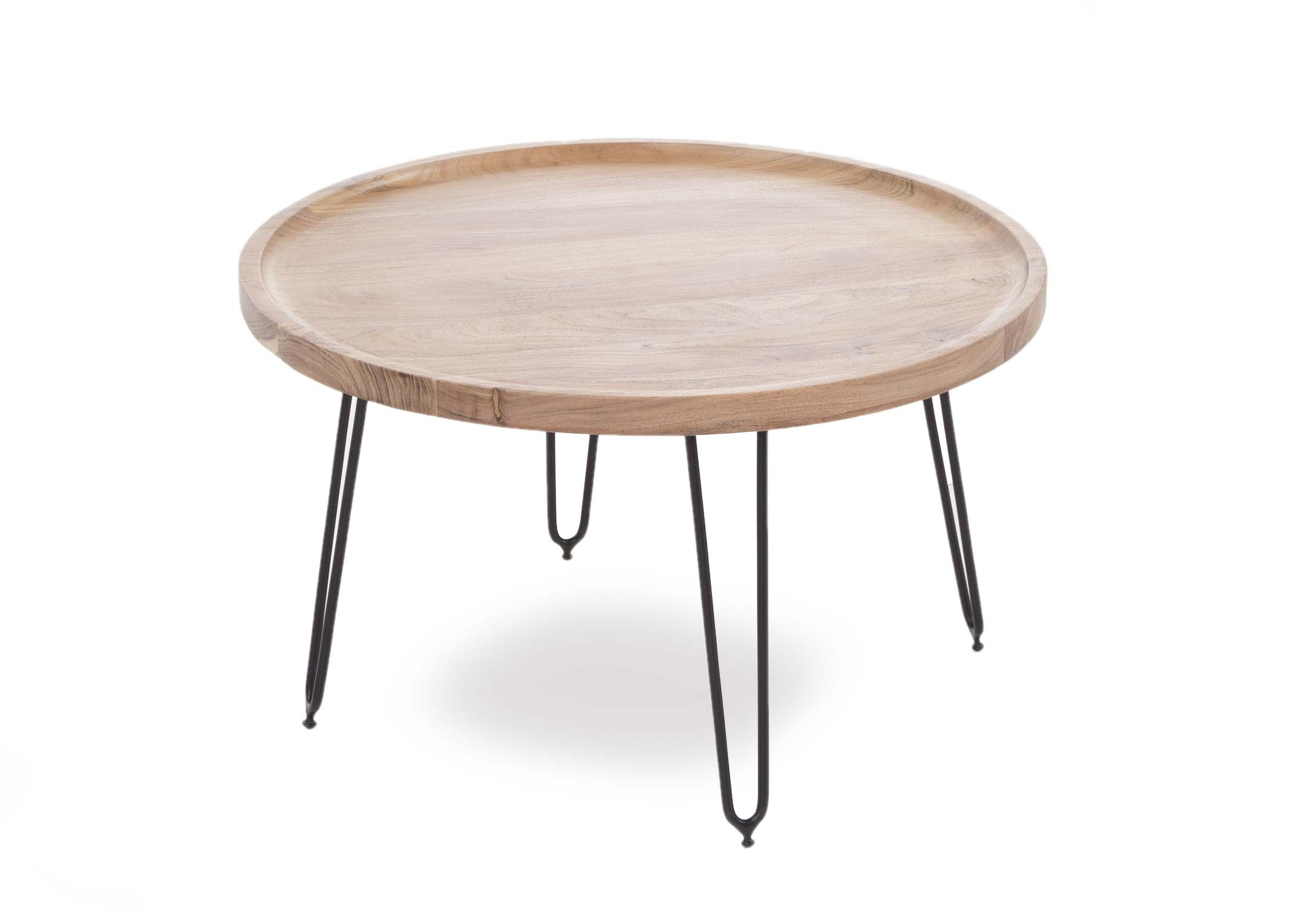 Large Round Coffee Table With Black Metal Legs Crete Ez Living Furniture