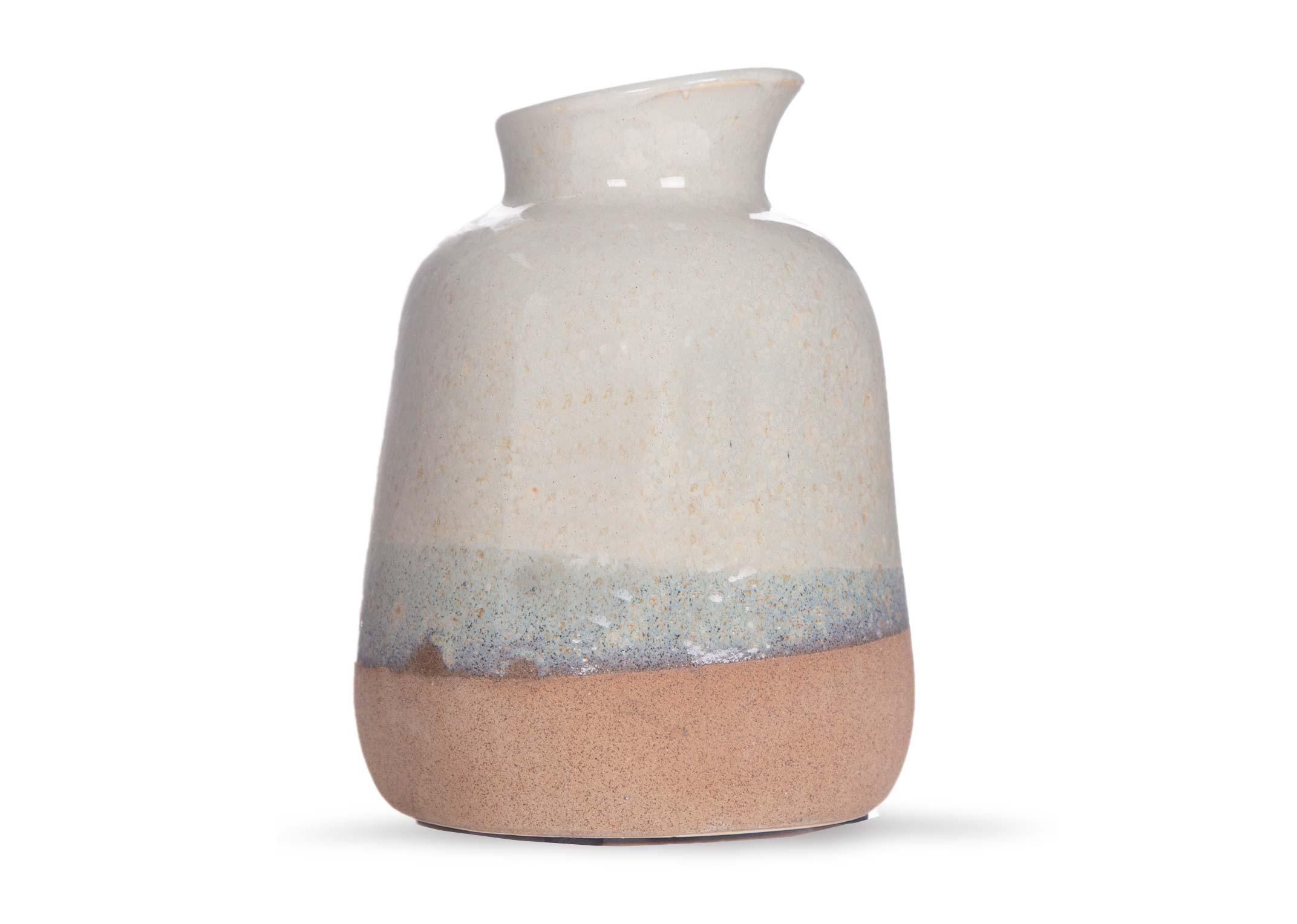Small White Brown Ceramic Vase Carra Ez Living Furniture