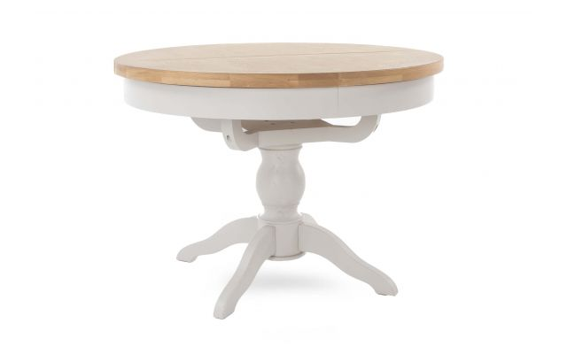 Light Grey Oak Round Extendable, Round Pedestal Extending Dining Table
