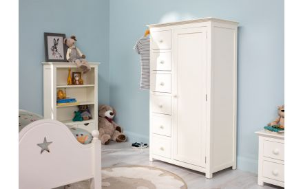 Six Drawer One Door Ivory/White Timber Wardrobe - Lilly