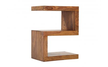 Angled shot of the India S shaped wooden cube shaped from solid sheesham wood with detailed wooden grain