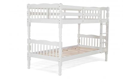 Angled shot of the Austin single 3 ft reclaimed pine white bunk bed for kids featuring guard rails and a four rung ladder