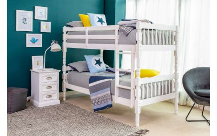 Single (3 ft) White Painted Bunk Bed - Austin