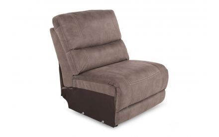 Baxter Taupe Faux Suede Fabric Armless Unit in a power image showing the soft fabric.
