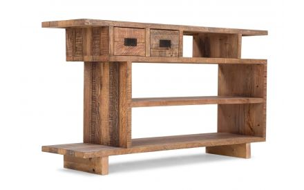 View from front side-angle of the two drawer pine console Polygon console table