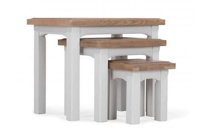 A power shot image of the grey oak Georgia nest of tables.