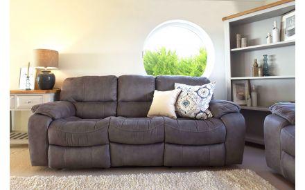 3 Seater Grey Suede Fabric Reclining Sofa - Bradford