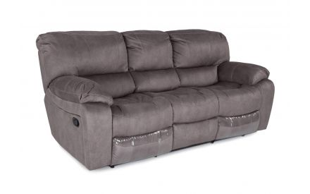 Angled view of 3 seater grey suede reclining Bradford sofa