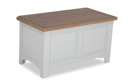 Angled shot of country-style contrast solid oak blanket box Georgia