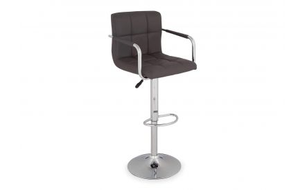 Angled shot of grey faux leather barstool with metal leg and armrest Jasmine