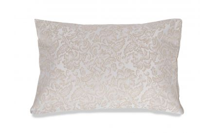 Full front view of the Palermo elegant gold floral jacquard oxford pillowcase set