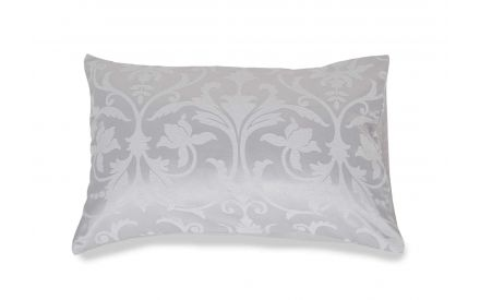 Full front view of the Emilia elegant silver floral jacquard pillowcase on a pillow