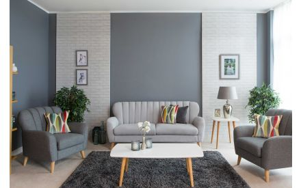2 Seater Dark Grey Fabric Sofa - Harper