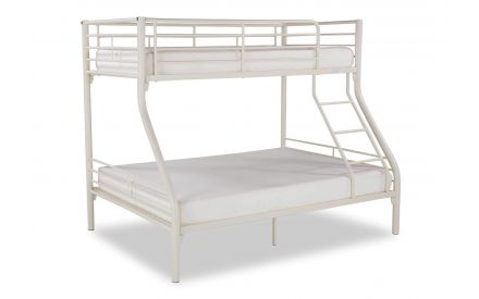 Angled view of twin double cream metal Oscar bunk-bed with mattresses