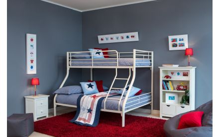 Cream Metal Twin Bunk Bed - Oscar