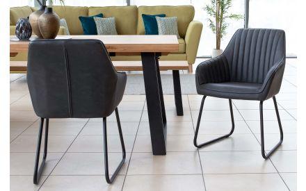Vintage Dark Grey Faux Leather Dining Chair - Bradley