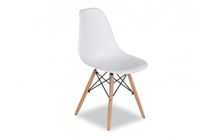 Angled shot of white modern dining chair with light wooden legs Kuga