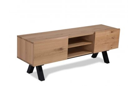 Angled shot of the Oliveto 2 door 2 shelf TV unit crafted from birch wood and white wild oak veneers with black metal legs