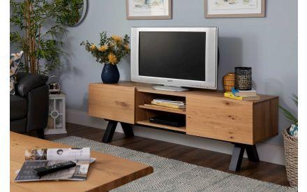2 Door 2 Shelf Wild White Oak Tv Unit - Oliveto