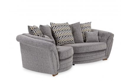 A powershot of grey fabric pillowback snuggler sofa with accent cushions