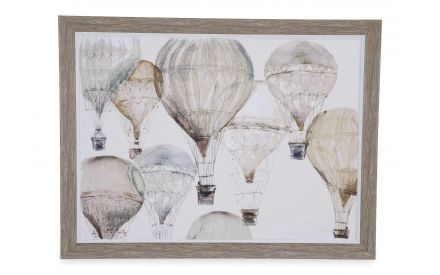 Framed print High Flyers by Fabrice De Villeneuve front view showing frame and image of hot air balloons
