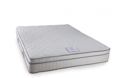 Angled shot of the Spinal Majestic super king size 6 ft firm mattress featuring 3200 pocket springs and latex