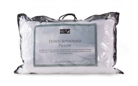 A down surround pillow from EZ Living's Mattress range. Cover view of packaging