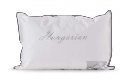 A hungarian goose pillow from EZ Living's Mattress range. Front view of packaging