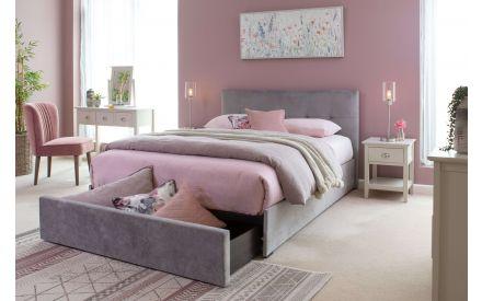 Double (4 ft 6) One Drawer Plume Velvet Bed Frame - Hector