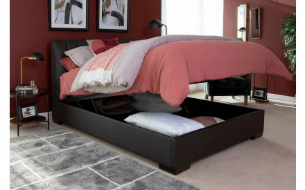 King-Size (5 ft) Brown Leather Ottoman Bed Frame - Lancelot