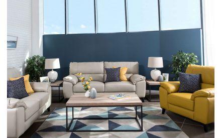 Light Grey Leather 3 Seater Sofa - Alfredo