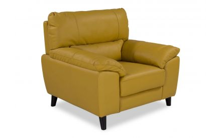A power shot image for the Alfredo yellow leather armchair.