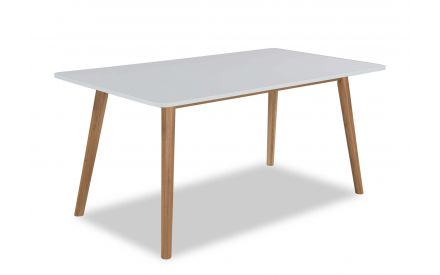 A power shot view of the Tia white top dining table.