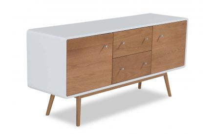 An angled view from above of the Tia white top three door sideboard.