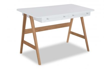 A power shot image of the white Tia top desk showing in full the legs and white desk.