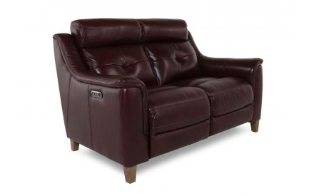 A deep red leather 2 seater power reclining sofa with wood feet from EZ Living Furniture's Vantage range. Angled view of sofa