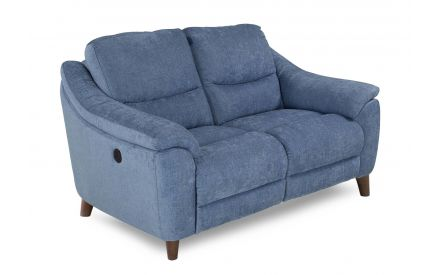 A blue fabric 2 Seater power recliner with dark wood feet from EZ Living Furniture's Blaze range. Angled view of 2 seater s