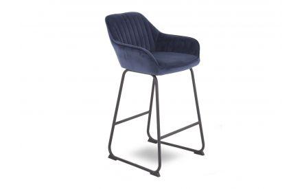 A power shot image of the Bradley blue velvet bar stool.