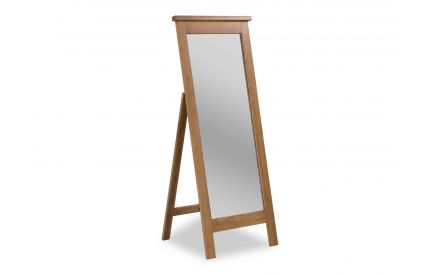 A front angle view image of the Hayley Cheval Oak Mirror