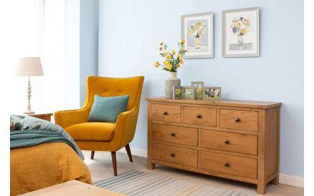7 Drawer Oak Dresser - Hayley