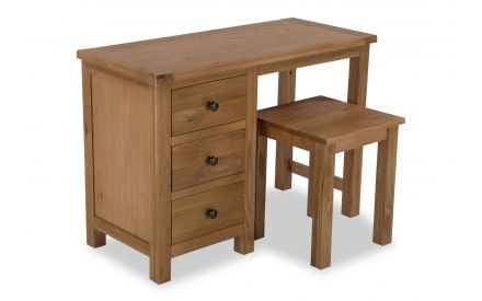 A front angle image of the Hayley dressing table and stool.
