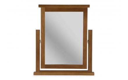 A front view image of the Hayley oak trinket mirror.