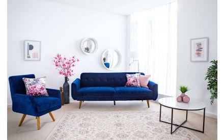 Blue Velvet 3 Seater Sofa bed - Metro