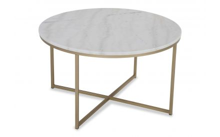 A power shot image of the Alisma round marble top coffee table with brass legs.