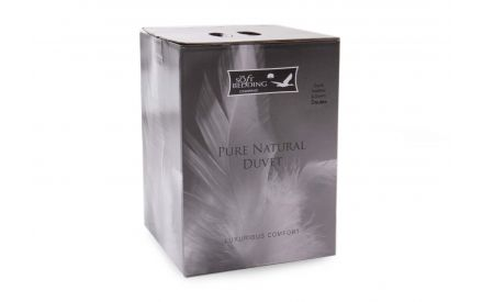 A double duck feather & down duvet in 13.5 tog from EZ Living Furniture's Bed linen range. Angled view of the box