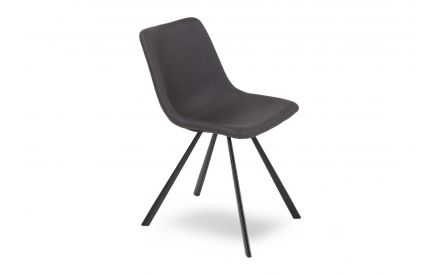 Vintage Dark Grey Dining chair in an angled image showing metal legs and soft seat