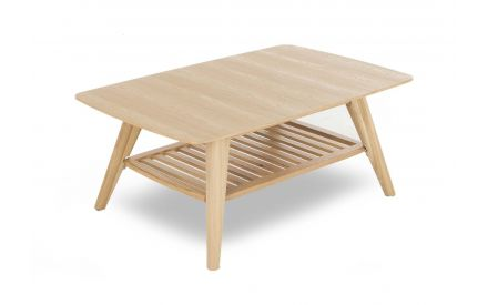 A classic oak finish coffee table with a framed shelf from EZ Living Furniture's Rho range. Angled view.