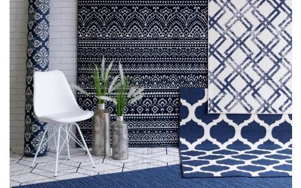 Large Cream and Blue Rug - Amelle